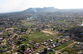 An aerial view shows Juba, the capital of south Sudan, on November 5, 2010, where UN aid chief Valerie Amos warned that the…