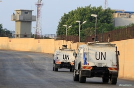 UN peacekeepers (UNIFIL) vehicles are pictured in Naqoura, near the Lebanese-Israeli border, southern Lebanon October 29, 2020…