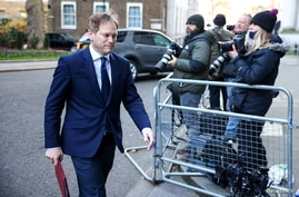 FILE - Britain's Transport Secretary Grant Shapps arrives to attend a Cabinet meeting at the Foreign and Commonwealth Office (FCO) in London.