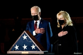 President Joe Biden and first lady Jill Biden pay their respects to late Capitol Police Officer Brian Sicknick