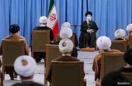 Iran's Supreme Leader Ayatollah Ali Khamenei meets members of the Assembly of Experts in Tehran, Iran February 22, 2021…