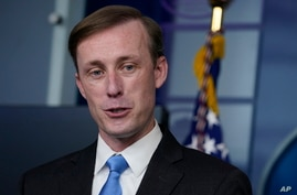 FILE - National security adviser Jake Sullivan speaks during a press briefing at the White House in Washington.