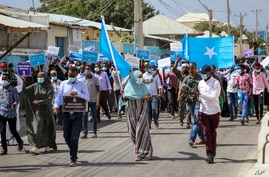 Somalis march and protest against the government and the delay of the country's election in the capital Mogadishu, Somalia…