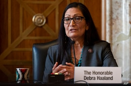 Rep. Deb Haaland, D-N.M., speaks during the Senate Committee on Energy and Natural Resources hearing on her nomination to be…