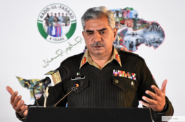 Pakistan army spokesman Maj-Gen Babar Iftikhar addressing news conference at the military's media wing ISPR in Rawalpindi, Feb 22, 2021 (courtesy ISPR)