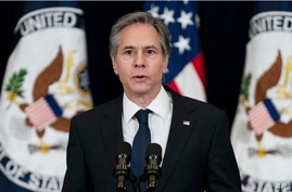 Secretary of State Antony Blinken speaks at the State Department in Washington, Feb. 4, 2021.