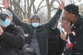 Kenneth Nixon gestures after being released from prison in Ionia, Michigan. (Courtesy of WMU-Cooley Law School)