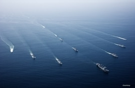 FILE - Ships are seen during previous AMAN drills organized by Pakistan's Navy. Islamabad is hosting another international naval exercise this month in the North Arabian Sea. (Courtesy - Pakistan Navy)