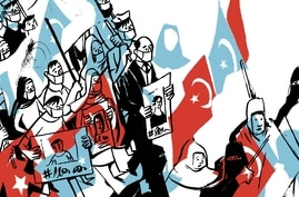 Illustration of protesters in Turkey carrying Uighur and Turkish flags