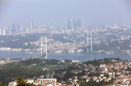 This picture taken on June 23, 2019 shows a general view of the July 15 Martyrs Bridge, or  Bosphorus Bridge, as seen from a…