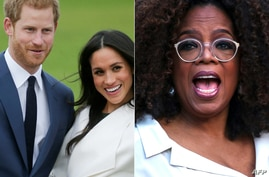 (COMBO) This combination of file pictures created on March 4, 2021 showsBritain's Prince Harry and US actress Meghan Markle at…