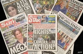 An arrangement of UK daily newspapers photographed as an illustration in Brighton on March 8, 2021, shows front page headlines…