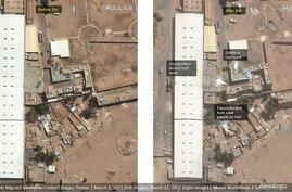 A view of possible Migrant Detention Center is seen before fire (L), in this March 4, 2021 and after fire (R), in this March 11…