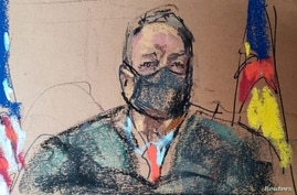 Boulder District Court Judge Thomas Mulvahill presides over a hearing for King Soopers shooting suspect Ahmad Al Aliwi Alissa, 21, at the Boulder County Justice Center in Boulder, Colorado, March 25, 2021, in this courtroom sketch from a video feed of the proceedings.