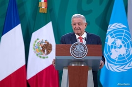 Mexico's President Andres Manuel Lopez Obrador addresses the audience during the opening ceremony of the Generation Equality…