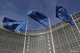 FILE PHOTO: European Union flags flutter outside the European Commission headquarters in Brussels, Belgium, March 24, 2021…