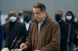 New York Gov. Andrew Cuomo speaks at a vaccination site on Monday, March 8, 2021, in New York. A lawyer for Gov. Andrew Cuomo…