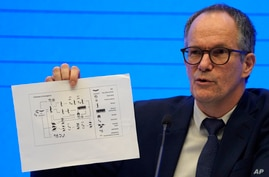FILE - In this Feb. 9, 2021, file photo, Peter Ben Embarek of the World Health Organization team holds up a chart showing…