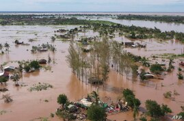 FILE - This video grab taken from handout aerial video footage by UNICEF Jan. 24, 2021, shows widespread flooding in the Buzi area of Mozambique after the landfall of Cyclone Eloise.