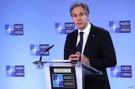 U.S. Secretary of State Antony Blinken delivers remarks prior to a NATO foreign ministers meeting at the alliance headquarters in Brussels, Belgium, March 23, 2021.