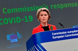 European Commission President Ursula von der Leyen speaks during a media conference on the Commission's response to COVID-19, at EU headquarters in Brussels, Belgium, March 17, 2021.