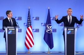 U.S. Secretary of State Antony Blinken and NATO Secretary General Jens Stoltenberg attend a news conference at a NATO Foreign Ministers' meeting at the Alliance's headquarters in Brussels, Belgium, March 23, 2021.