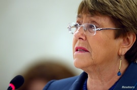 FILE - United Nations High Commissioner for Human Rights Michelle Bachelet attends a session of the Human Rights Council at the United Nations in Geneva, Switzerland, Feb. 27, 2020.