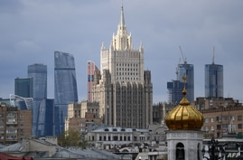 A view of the Russian Foreign Ministry headquarters in Moscow on April 29, 2021. (Photo by NATALIA KOLESNIKOVA / AFP)