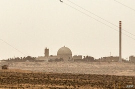 A picture taken on March 8, 2014 show a partial view of the Dimona nuclear power plant in the southern Israeli Negev desert…
