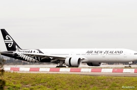FILE PHOTO: An Air New Zealand Boeing 777-300ER plane taxis after landing at Kingsford Smith International Airport in Sydney,…
