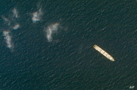 This Oct. 1, 2020, satellite photo from Planet Labs Inc. shows the Iranian cargo ship MV Saviz in the Red Sea.