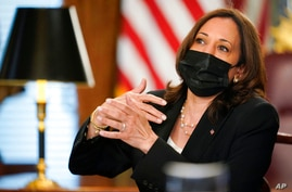 Vice President Kamala Harrisspeaks during a virtual meeting with outside national security experts in Vice President's…