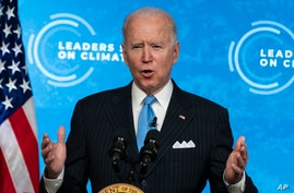 President Joe Biden speaks to the virtual Leaders Summit on Climate, from the East Room of the White House, April 23.