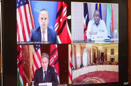 Secretary of State Antony Blinken participates in a virtual bilateral meeting with Kenyan President Uhuru Kenyatta and Chargé d…