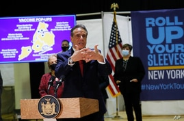 FILE - New York state Gov. Andrew Cuomo speaks at an event to announce new walk-in pop-up COVID-19 vaccination sites in the Harlem section of New York City, April 23, 2021.