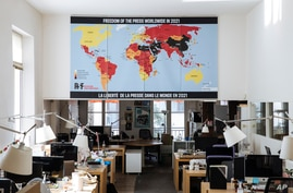 The RSF (Reporters Without Borders) 2021 map of press freedom in Paris, France, April 20, 2021.