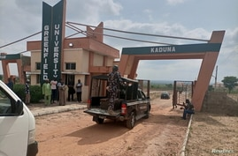 A military truck arrives at Greenfield University after gunmen kidnapped students in Kaduna, Nigeria, April 21, 2021.