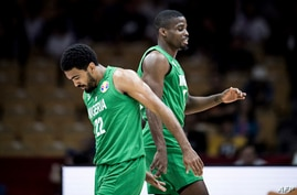 Nnamdi Vincent (L) and Ikeanna Iroegbu of Nigeria react during the Basketball World Cup Group B game between South Korea and…