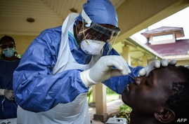 A medical officer takes a sample for the COVID-19 coronavirus at the laboratory of Kenya Medical Research Institute (KEMRI)…