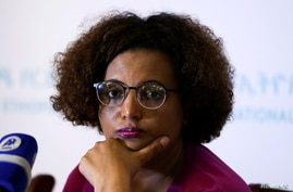 FILE PHOTO: National Electoral Board of Ethiopia Chairperson Birtukan Mideksa addresses a news conference on the upcoming…