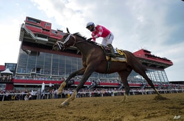 Flavien Prat atop Rombauer crosses the finish line to win the Preakness Stakes horse race at Pimlico Race Course, Saturday, May…