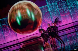 Efendi from Azerbaijan performs during rehearsals at the Eurovision Song Contest at Ahoy arena in Rotterdam, Netherlands,…