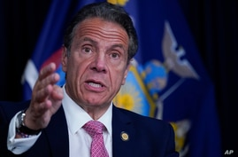 FILE - New York Gov. Andrew Cuomo speaks during a news conference, May 10, 2021 in New York.