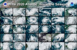 FILE - This combination of satellite images provided by the National Hurricane Center shows 30 hurricanes which occurred during…