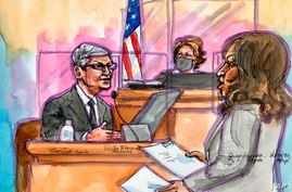 This artist rendering shows Apple CEO Tim Cook on the witness stand during a trial in San Ramon, Calif., on Friday, May 21,…