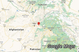 Mehtarlam (red mark) is seen east of Kabul in Afghanistan's Laghman province.