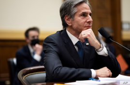 Secretary of State Antony Blinken testifies before the House Committee on Foreign Affairs on the administration foreign policy priorities on Capitol Hill on March 10, 2021, in Washington.