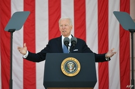 U.S. President Joe Biden delivers an address at the 153rd National Memorial Day Observance, at Arlington National Cemetery, in Arlington, Virginia, May 31, 2021.