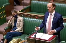 A video grab from footage broadcast by the UK Parliament's Parliamentary Recording Unit (PRU) shows Britain's Health Secretary Matt Hancock updating MPS on the status of the Coronavirus pandemic at the House of Commons in London, May 27, 2021.
