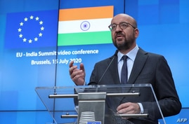 FILE - European Council President Charles Michel speaks during a news conference in Brussels, July 15, 2020, after a virtual summit with Indian Prime Minister Narendra Modi.